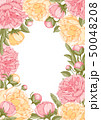 Floral Frame With Peony Flowers 50048208