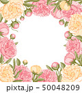 Floral Frame With Peony Flowers 50048209