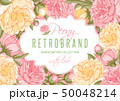 Floral Frame With Peony Flowers 50048214