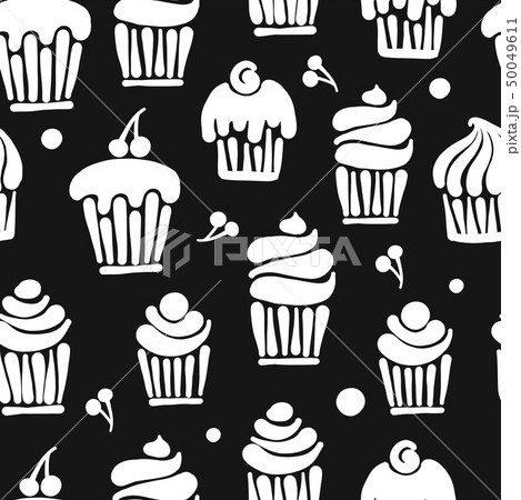Cupcakes collection, seamless pattern for your design 50049611