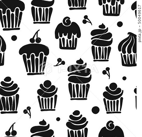 Cupcakes collection, seamless pattern for your design 50049617