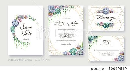 wedding invitation card.サボテン様、結婚式招待状. 50049619