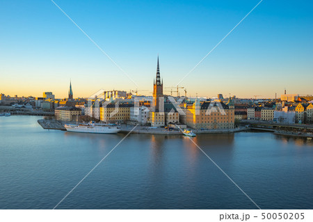 Sunset view of Stockholm city skyline old town 50050205
