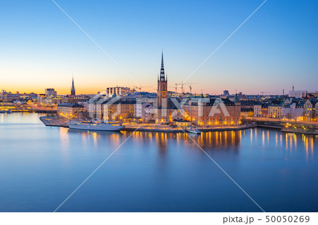 Night view of Stockholm city skyline old town 50050269