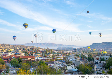 Cappadocia city skyline with hot air balloon 50050270