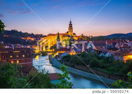 Cesky Krumlov old town at night in Czech Republic 50050274