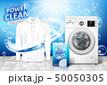 Laundry detergent ad. Stain remover banner design with realistic washing machine and laundry 50050305