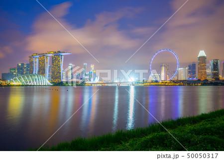 Singapore city skyline at night view from Marina 50050317