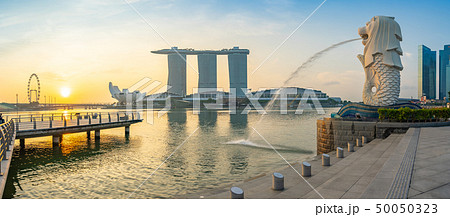 Panorama view of Merlion park with sunrise 50050323