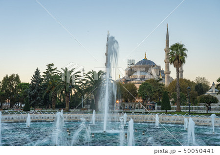 Blue Mosque with sunrise in Istanbul city, Turkey 50050441