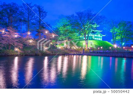 Cherry Blossom Festival in Takada Castle at night 50050442