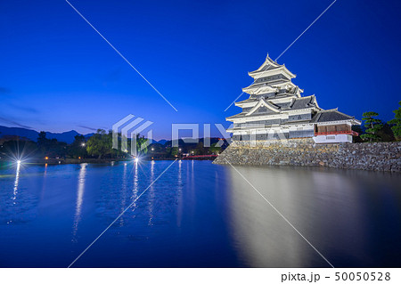 Matsumoto Castle at night in Matsumoto city, Japan 50050528