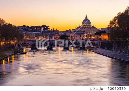 Twilight view of St. Peter's Basilica in Vatican 50050539