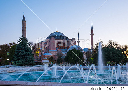 Sunrise with Hagia Sofia in Istanbul city, Turkey 50051145