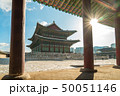 Gyeongbokgung Palace with sun flare in Seoul 50051146