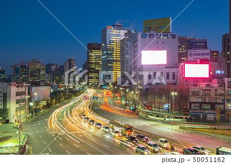 Seoul city traffic in Korea at night 50051162