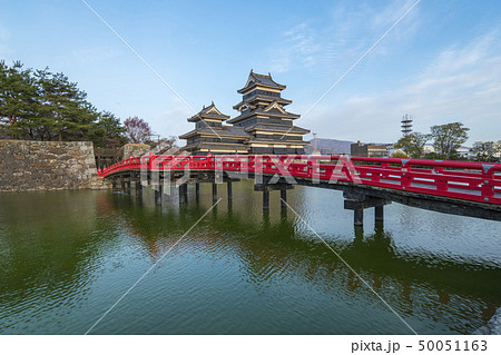 Matsumoto Castle with the red bridge in Nagano 50051163