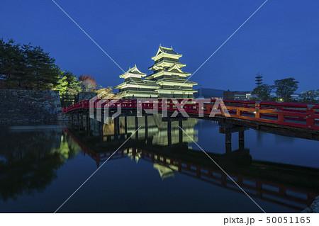 Matsumoto Castle with the red bridge night 50051165