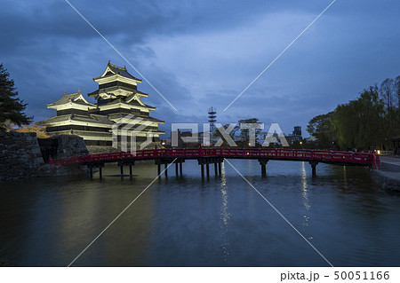 Matsumoto Castle with the red bridge at night 50051166