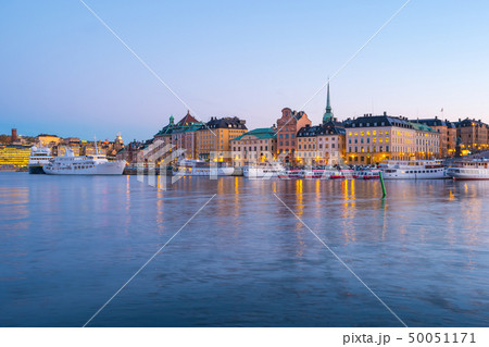 Night view of Stockholm skyline old town in Sweden 50051171