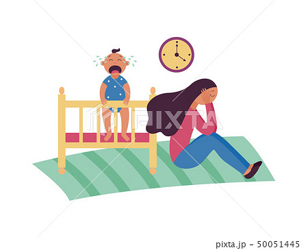 Depressed woman sits on floor while baby is crying in cot flat cartoon style 50051445