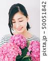 女性 アジサイ 紫陽花の写真 50051842