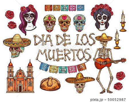 Dia de Muertos Mexican Day of Dead sketch symbols 50052987