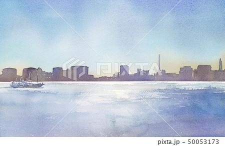 海 町並み 船 シルエット 水彩画 50053173