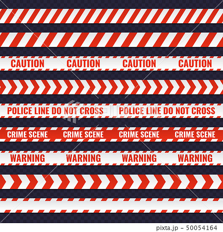 Set of red and white seamless police lines 50054164