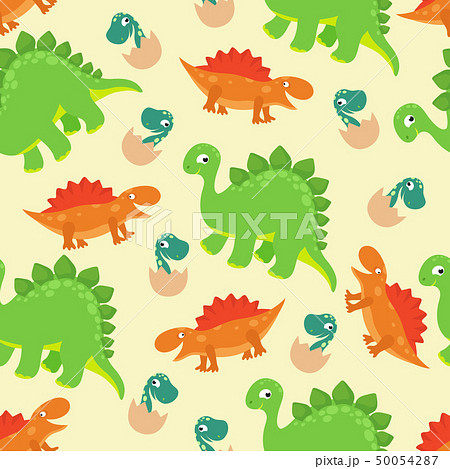 Cartoon baby dinosaur vector seamless pattern for girl fashion design 50054287