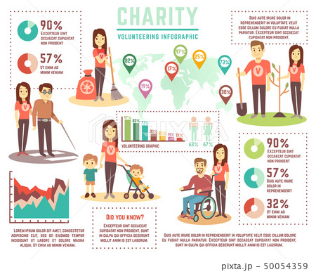 Social help and charity work vector concept. Volunteering infographics 50054359
