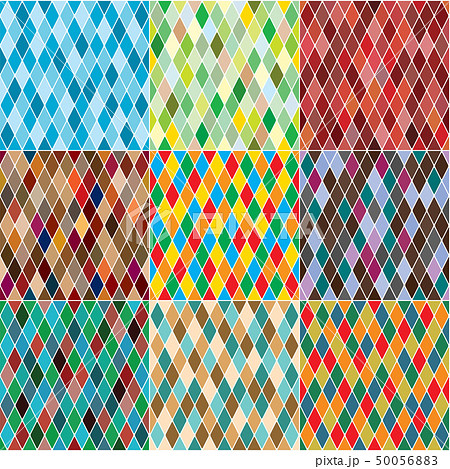 Harlequin's polychromatic mosaic patchwork, multi-colored seamless patterns, set of 9 colorful tiles 50056883