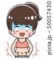 お腹をつまむ若い女性 50057430