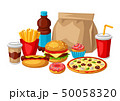 Illustration with fast food meal. Tasty fastfood lunch products. 50058320