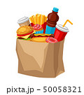 Illustration with fast food meal. Tasty fastfood lunch products. 50058321