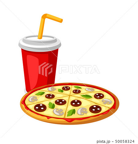 Illustration with fast food meal. Soda and pizza. 50058324