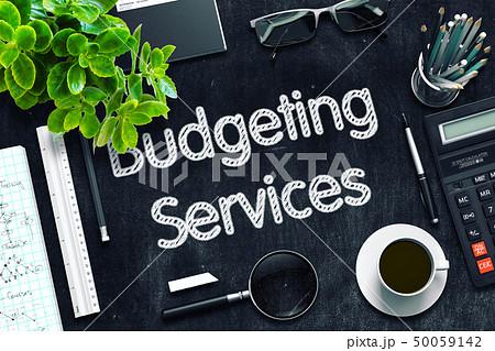 Budgeting Services on Black Chalkboard. 3D Rendering. 50059142