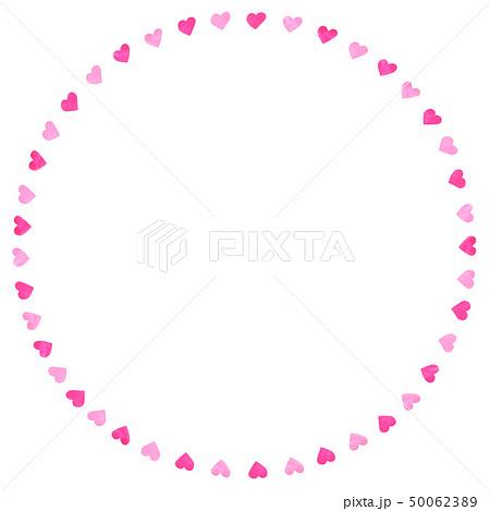 手描きフレーム サークル ハート 2色ピンク 50062389