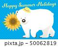 暑中見舞い 白熊 ベクターのイラスト 50062819