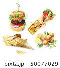 Vegan Burger, sawarma, falafel, backed potato watercolor isolated on white background. Vegan street 50077029