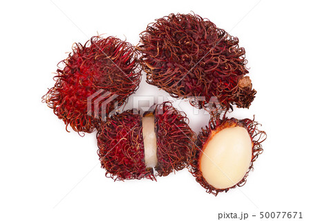 rambutan isolated on white background. Tropical fruit. Nephelium lappaceum. Top view. Flat lay 50077671