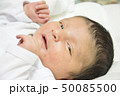 Newborn baby face with jaundice portrait in white 50085500