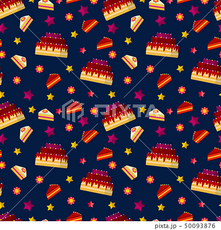 Colorful birthday cakes seamless pattern 50093876
