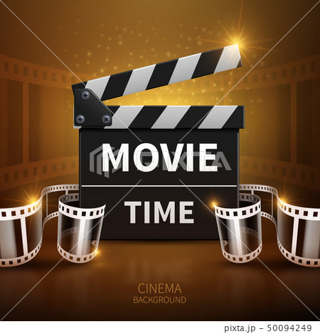 Online movie and television vector background with cinema clapper and film roll 50094249