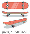 Red skateboard from various angles 50096506