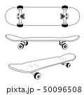 Classic skateboard view from the side, bottom and at an angle 50096508