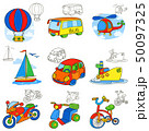 Transport vehicles. Cartoon coloring book page 50097325
