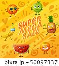 Orange background with fruit characters food emoji 50097337