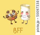 Funny food characters cookie and glass of milk 50097338