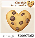 Choc chip heart cookies illustration. Cartoon vector icon 50097362